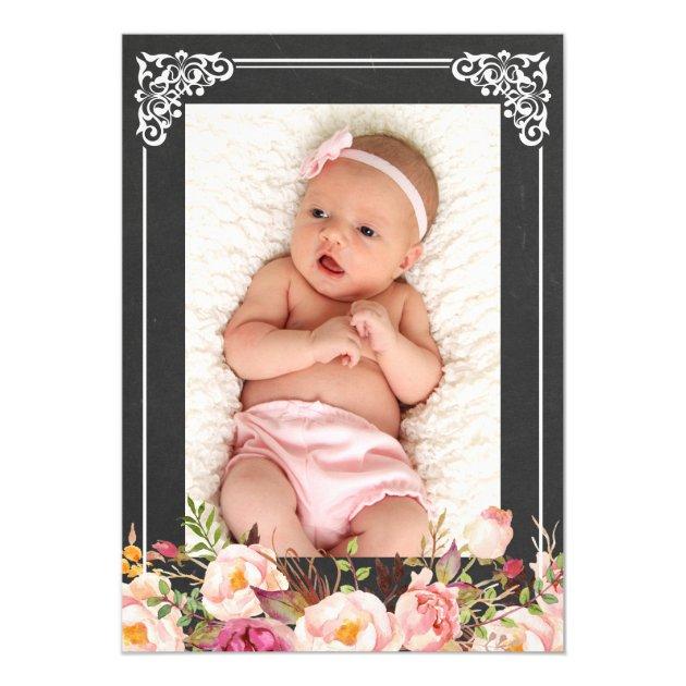 Floral Baptism | Elegant Vintage Chalkboard Frame Card (back side)