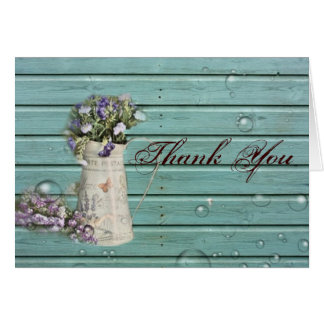 floral barn wood rustic wedding thank you card