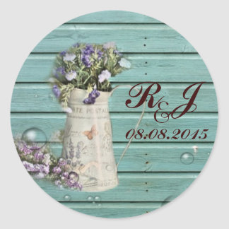 floral barn wood rustic wedding thank you classic round sticker