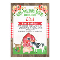 Floral barnyard farm birthday invitation