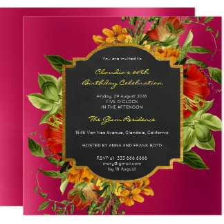 Floral Baroque Birthday Gold Frame Pink Raspberry Card