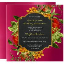 Floral Baroque Birthday Gold Frame Pink Raspberry Invitation