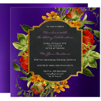 Floral Baroque Birthday Gold Frame Plum  Purple Card