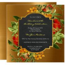 Floral Baroque Birthday Golden Frame Mint Green Invitation