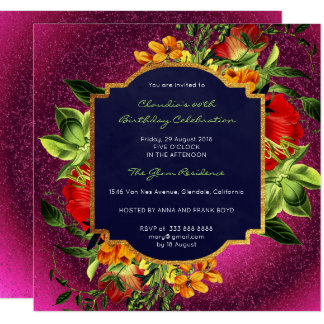 Floral Baroque Event Gold Garden Vivid Pink Green Card