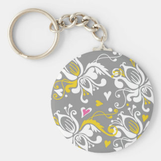 Floral Baroque Pattern Key Chains