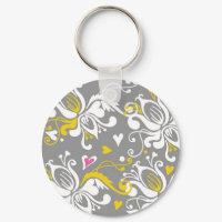 Floral Baroque Pattern keychain