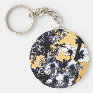 Floral Basic Round Button Keychain