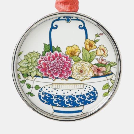 Floral Basket Round Metal Christmas Ornament