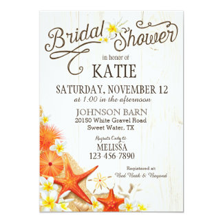 Floral Beach and Seashells Rustic Bridal Shower Card