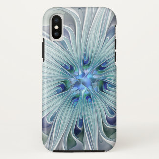 Floral Beauty Abstract Modern Blue Pastel Flower iPhone X Case
