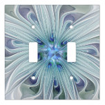 Floral Beauty Abstract Modern Blue Pastel Flower Light Switch Cover