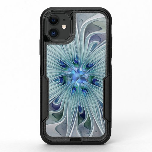 Floral Beauty Abstract Modern Blue Pastel Flower OtterBox Commuter iPhone 11 Case