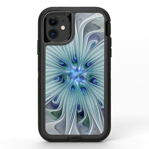 Floral Beauty Abstract Modern Blue Pastel Flower OtterBox Defender iPhone 11 Case