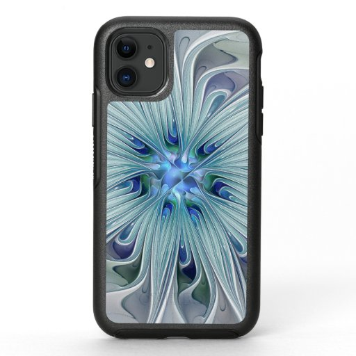 Floral Beauty Abstract Modern Blue Pastel Flower OtterBox Symmetry iPhone 11 Case