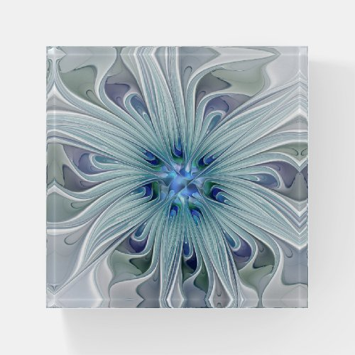 Floral Beauty Abstract Modern Blue Pastel Flower Paperweight