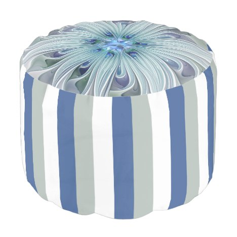 Floral Beauty Abstract Modern Blue Pastel Flower Pouf