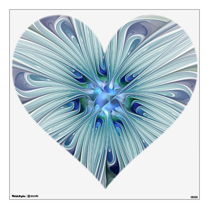 Floral Beauty Abstract Modern Blue Pastel Heart Wall Decal Zazzle Com