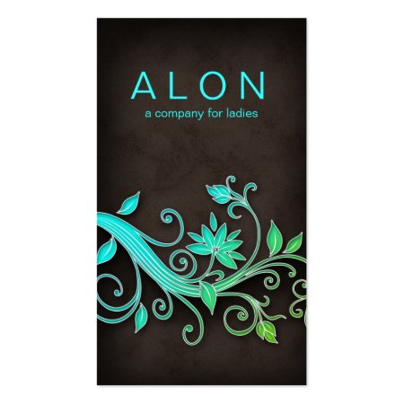 Aqua Blue Florals on Dark Brown Background Cosmetics Beauty Consultant Business Cards