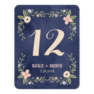 Floral Beauty Double Sided Table Number Card