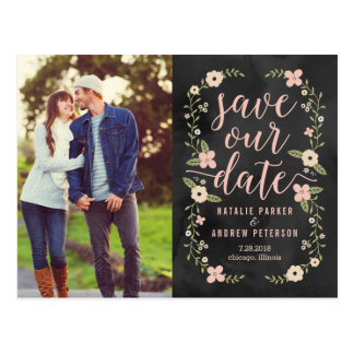 Floral Beauty Editable Color Photo Save The Date Postcard