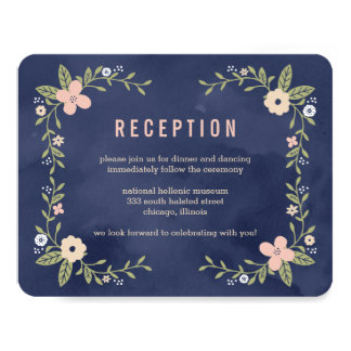 Floral Beauty Editable Color Reception Card