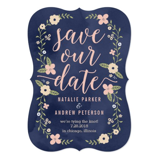 Floral beauty editable color save the date card zazzle