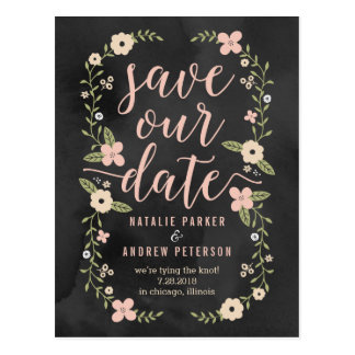 Floral Beauty Editable Color Save The Date Card Postcard
