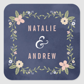 Floral Beauty Editable Color Wedding Favor Sticker