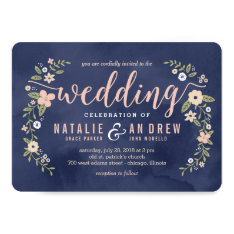 Floral Beauty Editable Color Wedding Invitation at Zazzle