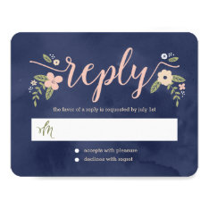 Floral Beauty Editable Color Wedding Response Card at Zazzle