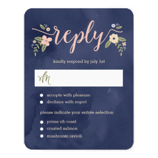 Floral Beauty Editable Color Wedding RSVP Card
