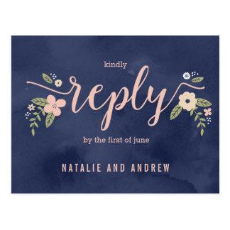 Floral Beauty RSVP Postcard Editable Color