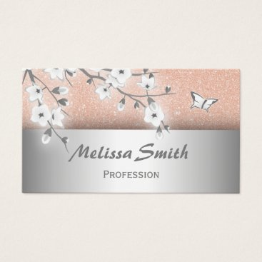 Professional Business Floral Beauty Salon Rose Gold Silver Business Card