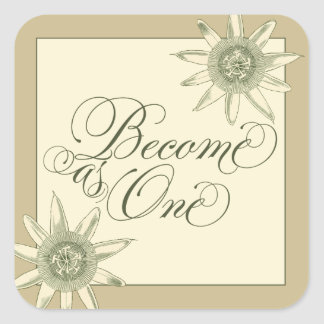 Floral Become as One Christian Wedding Stickers
