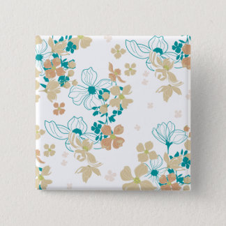 Floral Beige and Teal Button