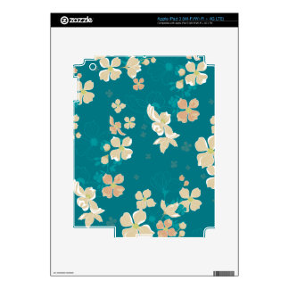 Floral – Beige and Teal Decals For iPad 3