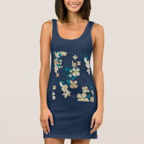 Floral Beige and Teal Sleeveless Dress