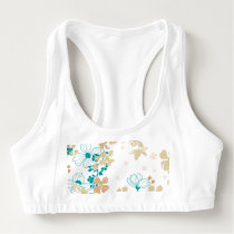 Floral Beige and Teal Sports Bra