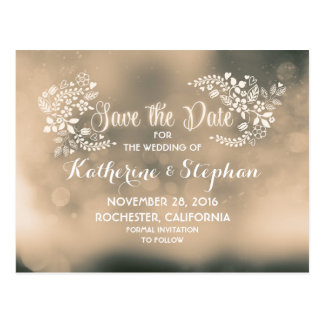 Floral beige brown cute save the date postcards