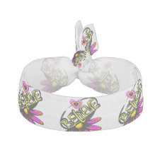 Floral believe with heart ribbon hair tie