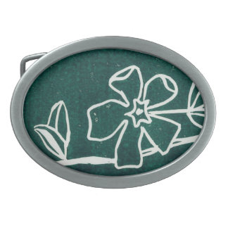 "Floral Belt Buckle ""Green Vinca"""