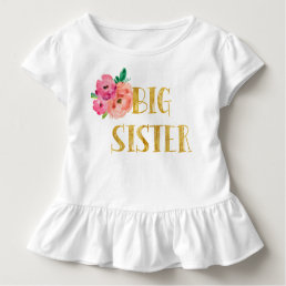Floral Big Sister Shirt Gold Foil
