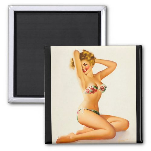 Floral Bikini Pin Up Art Magnet