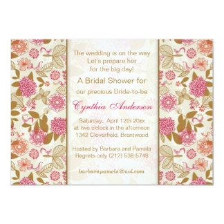"Floral, bird and butterfly Bridal Shower 4.5"" X 6.25"" Invitation Card"