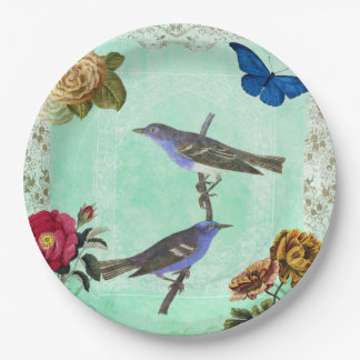 Floral Bird Butterfly Vintage French Style Collage Paper Plate