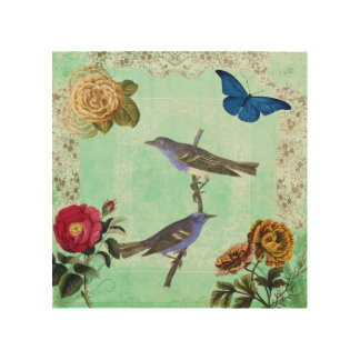 Floral Bird Butterfly Vintage French Style Collage Wood Wall Art
