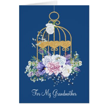 Floral Bird Cage Grandmother Mother's Day Card