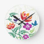 Floral Bird Nature Pattern Wall Clocks