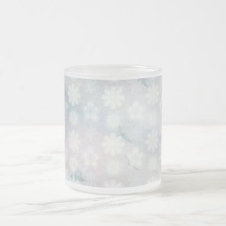 Floral Birds Pattern Frosted Glass Coffee Mug